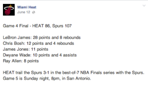 Facebook post about game scores