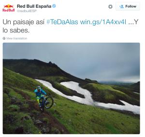 Red bull, Twitter, #TeDaAlas, uso de hashtags